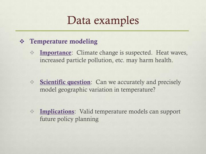 Data examples