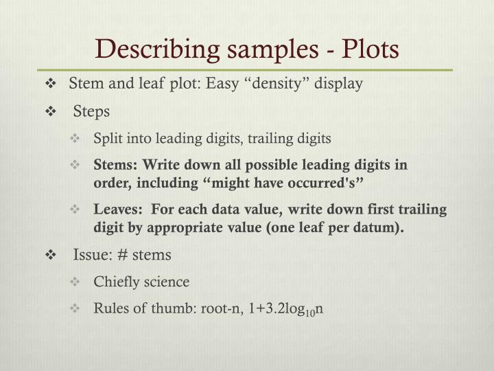 Describing samples - Plots