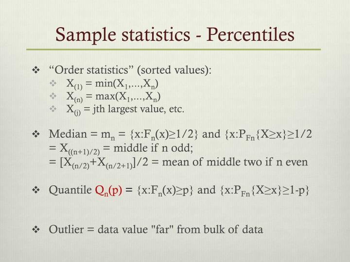 Sample statistics - Percentiles