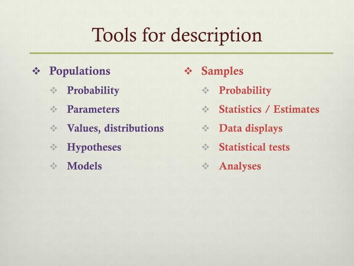 Tools for description