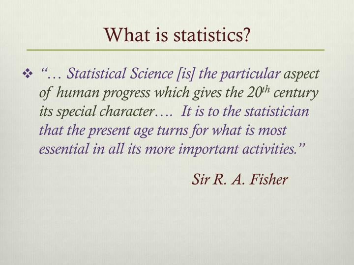 What is statistics1
