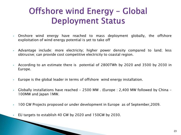 Offshore wind Energy – Global Deployment Status