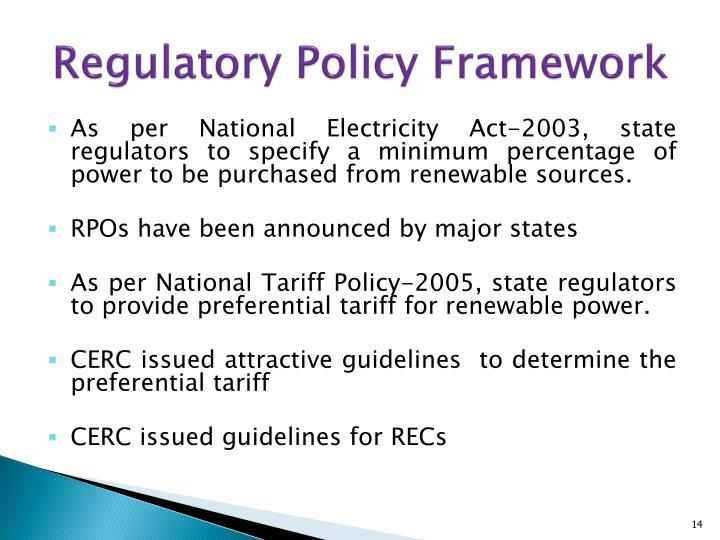 Regulatory Policy Framework