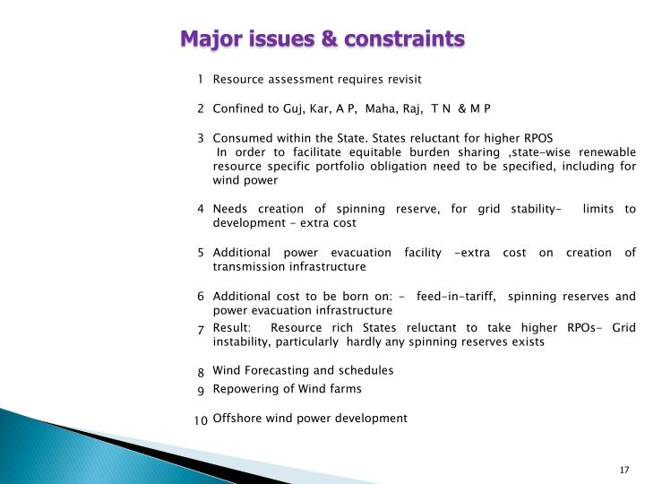 Major issues & constraints