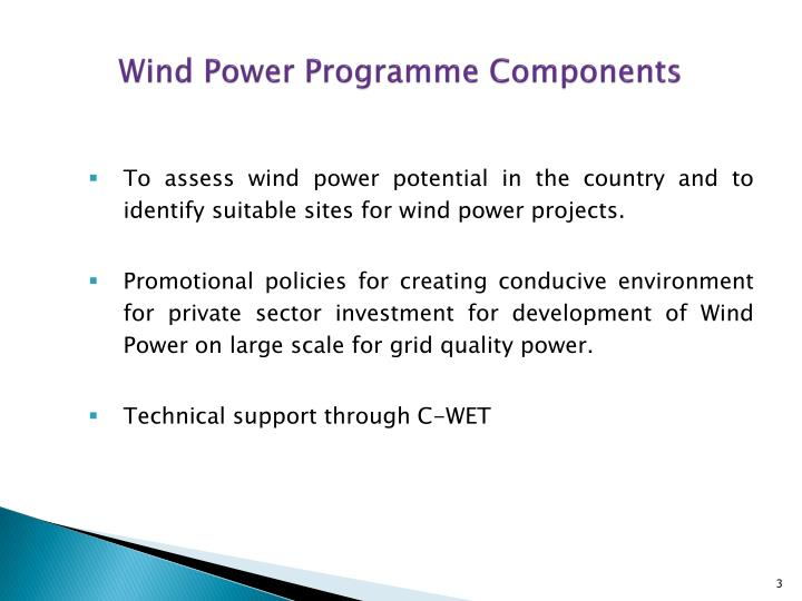 Wind power programme components