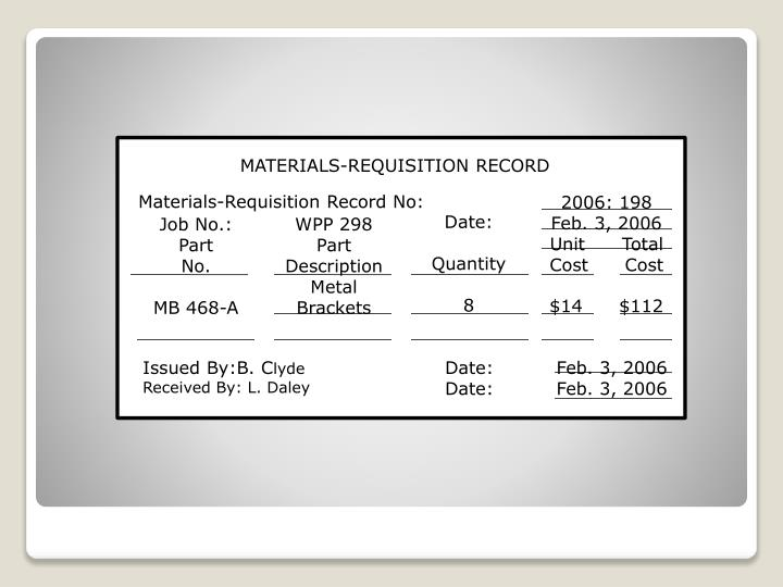 MATERIALS-REQUISITION RECORD
