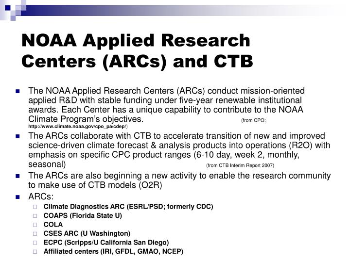 Noaa applied research centers arcs and ctb