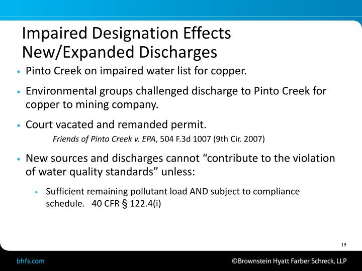 Impaired Designation Effects New/Expanded Discharges