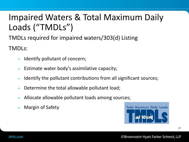 """Impaired Waters & Total Maximum Daily Loads (""""TMDLs"""")"""