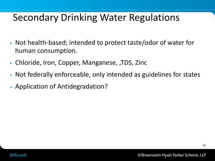 Secondary Drinking Water Regulations