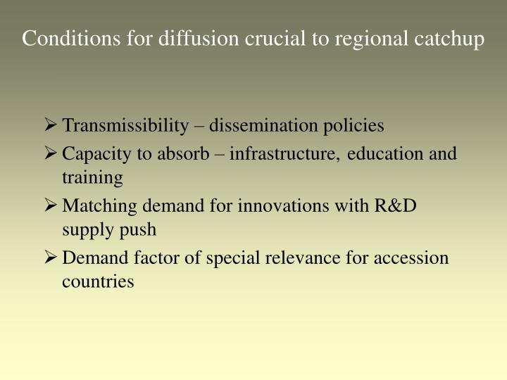 Conditions for diffusion crucial to regional catchup