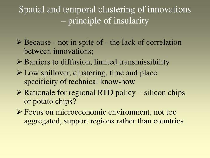 Spatial and temporal clustering of innovations principle of insularity