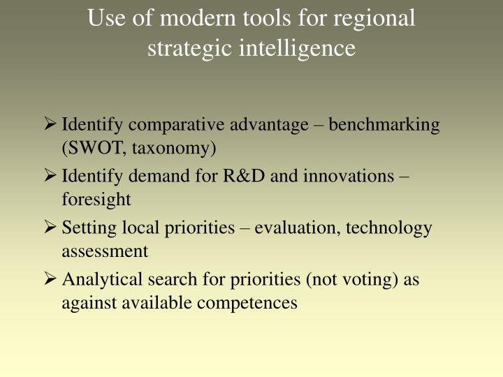Use of modern tools for regional strategic intelligence