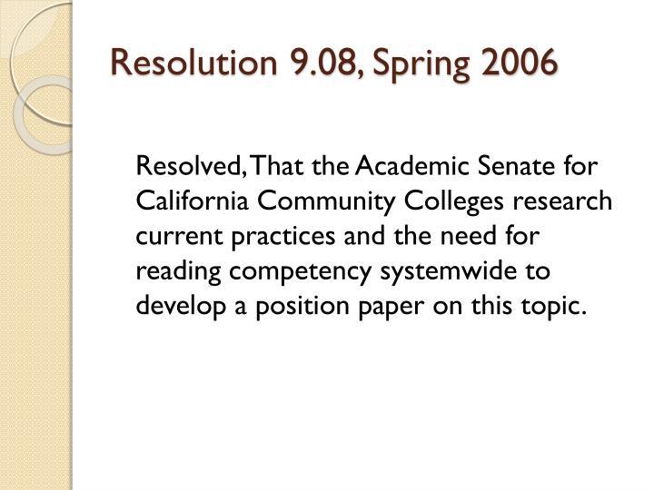 Resolution 9 08 spring 2006