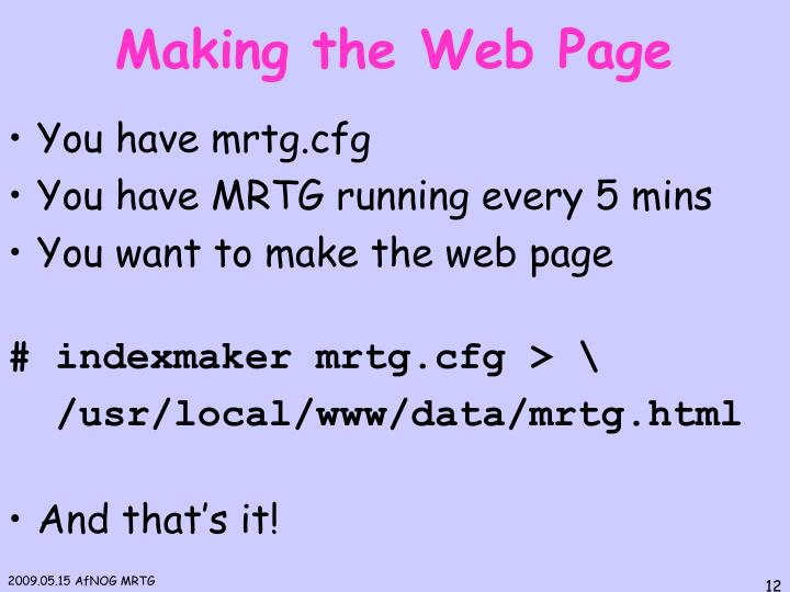 Making the Web Page