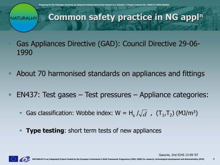 Common safety practice in NG appl