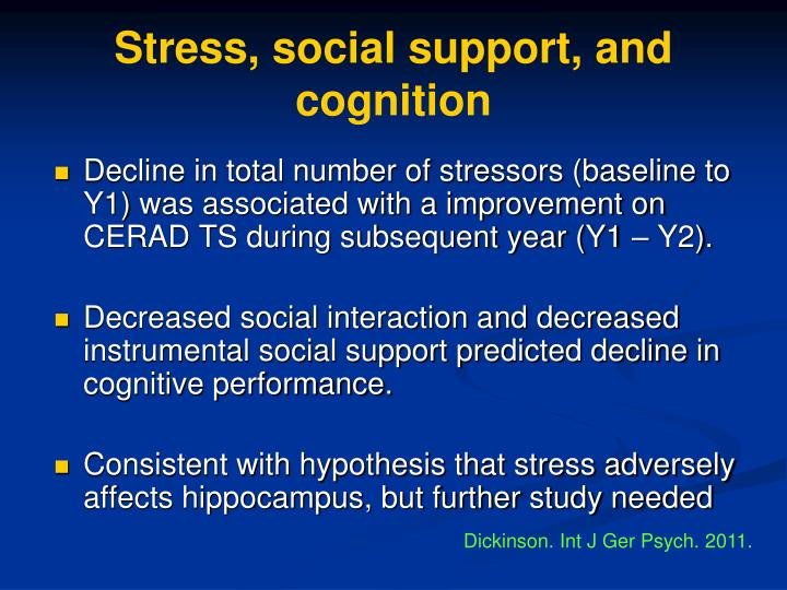 Stress, social support, and cognition