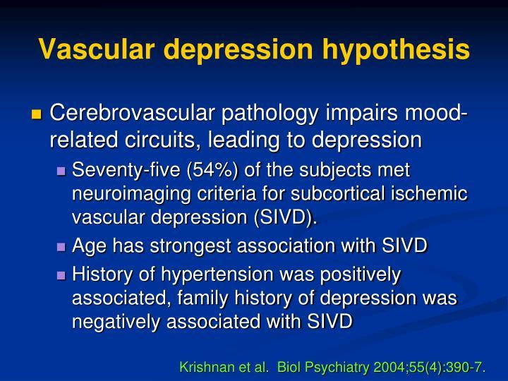 Vascular depression hypothesis