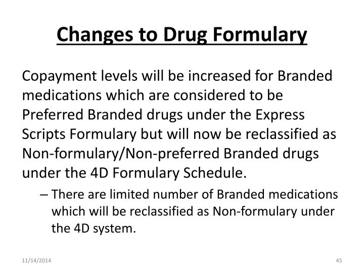 Changes to Drug Formulary