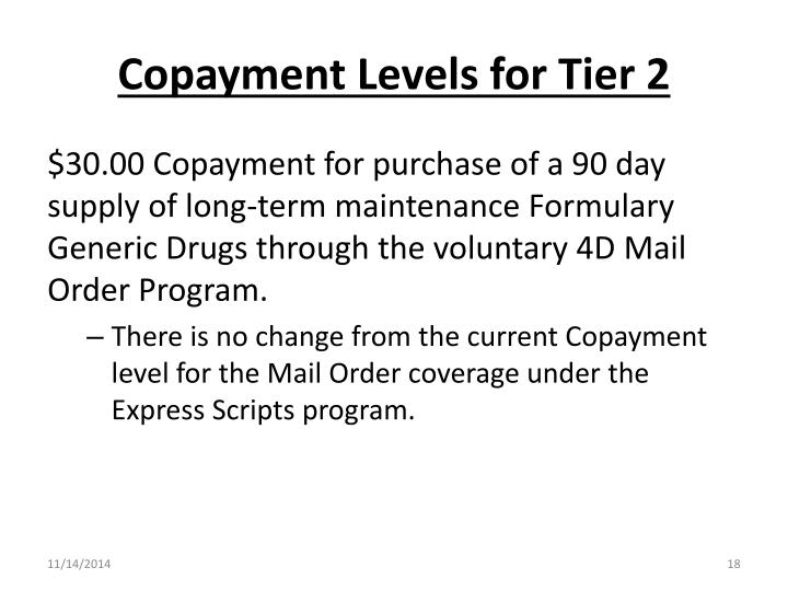Copayment Levels for Tier 2