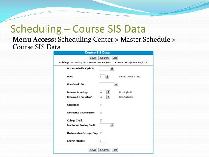 Scheduling – Course SIS Data