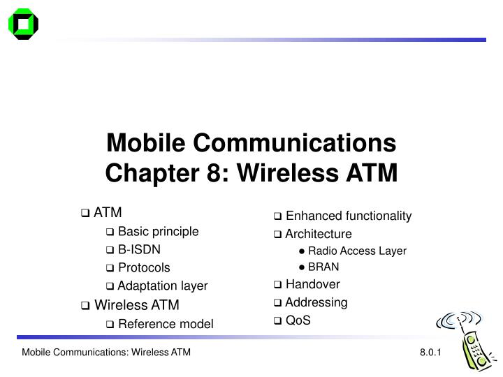 Mobile communications chapter 8 wireless atm