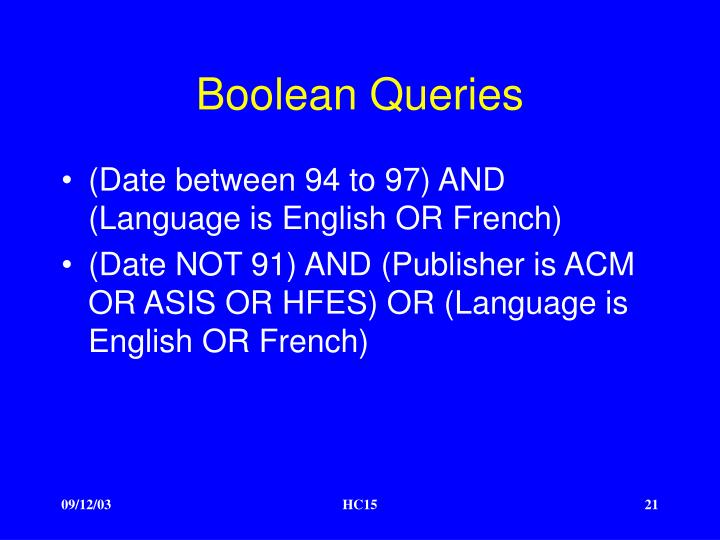 Boolean Queries