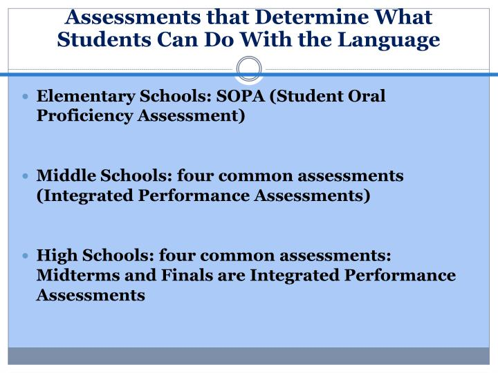 Assessments that Determine What Students Can Do With the Language