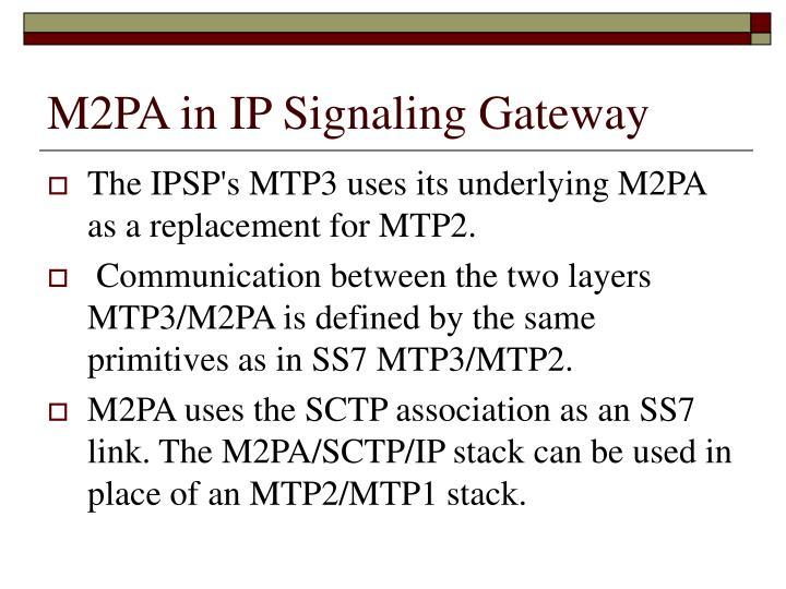 M2PA in IP Signaling Gateway