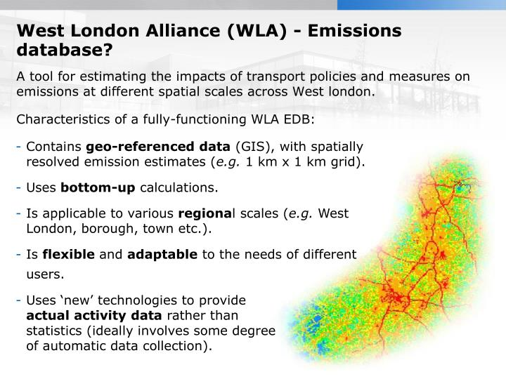 West London Alliance (WLA) - Emissions database?