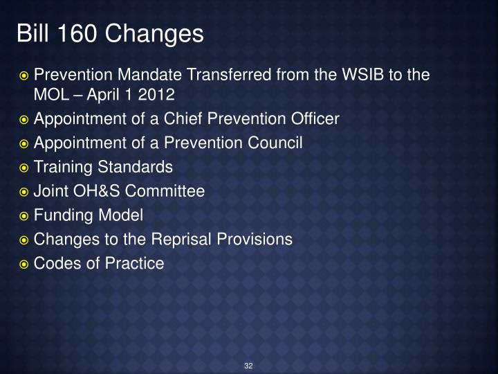 Bill 160 Changes