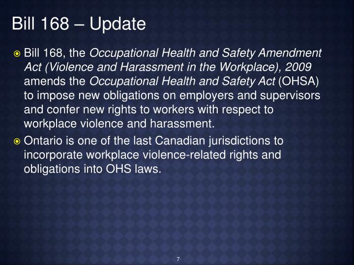 Bill 168 – Update