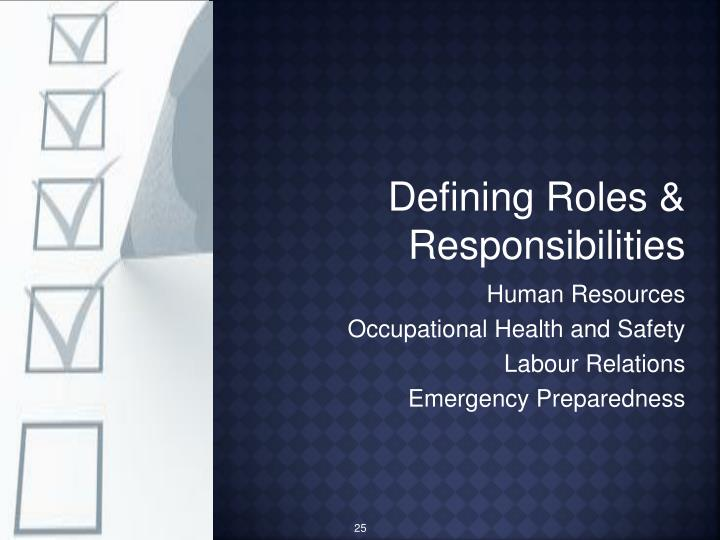 Defining Roles & Responsibilities