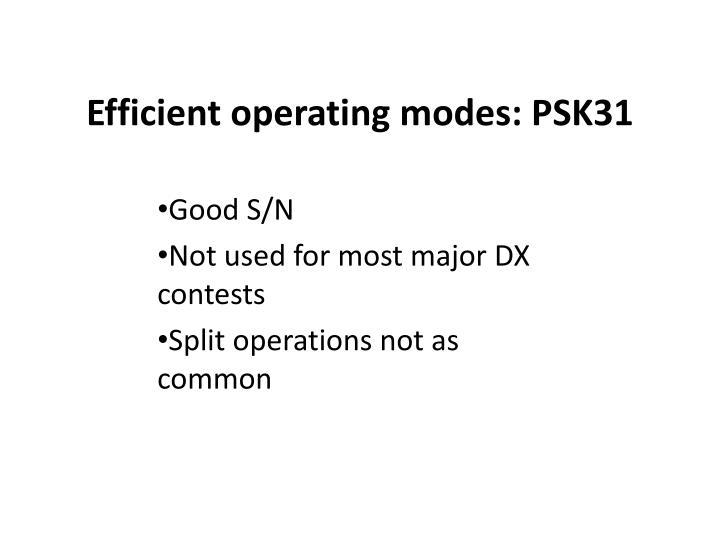 Efficient operating