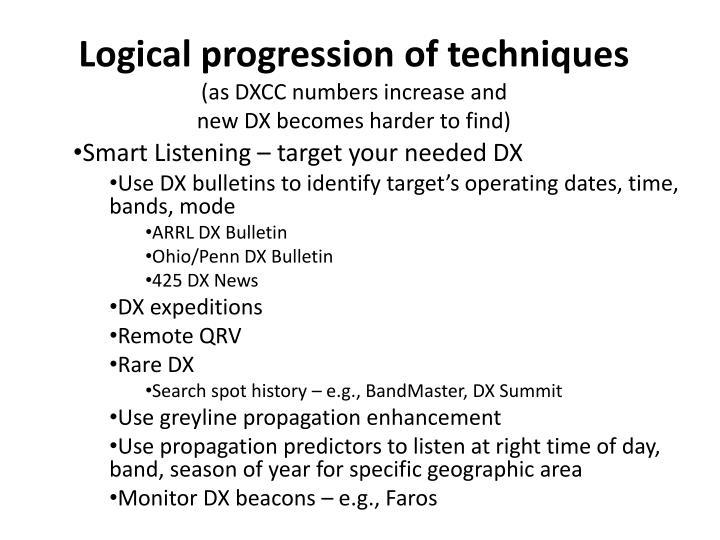 Logical progression of techniques