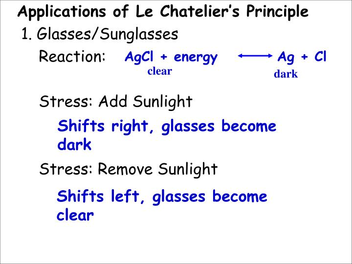 Applications of Le Chatelier's Principle