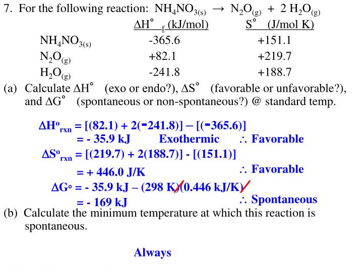 7.  For the following reaction:  NH