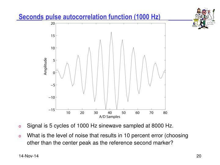 Seconds pulse autocorrelation function (1000 Hz)