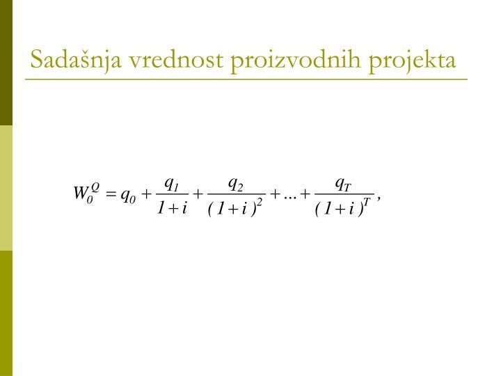Sadašnja vrednost proizvodnih projekta