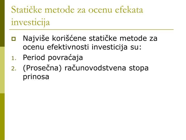 Statičke metode za ocenu efekata investicija
