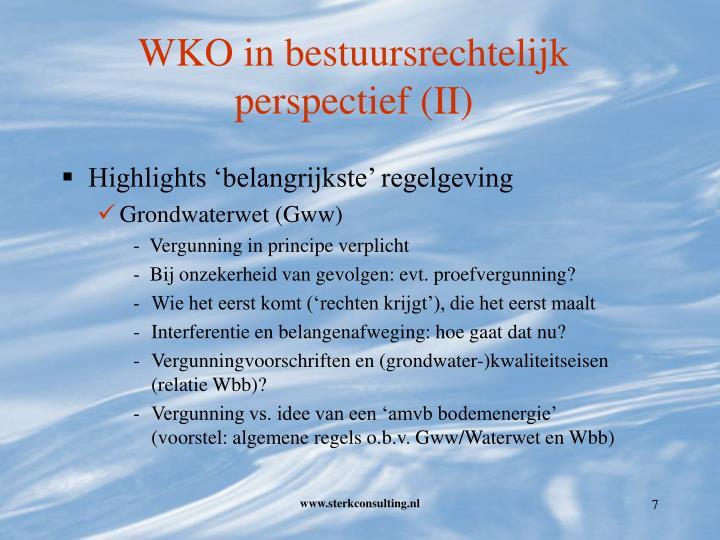 WKO in bestuursrechtelijk perspectief (II)