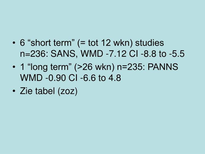 """6 """"short term"""" (= tot 12 wkn) studies n=236:"""