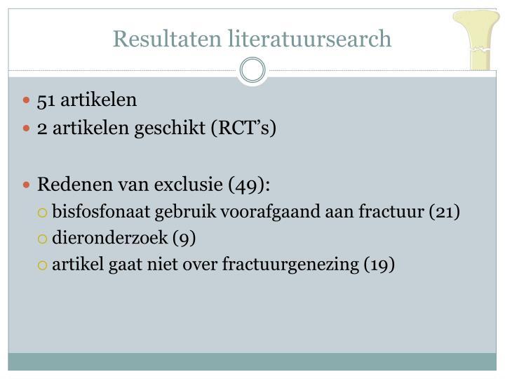 Resultaten literatuursearch