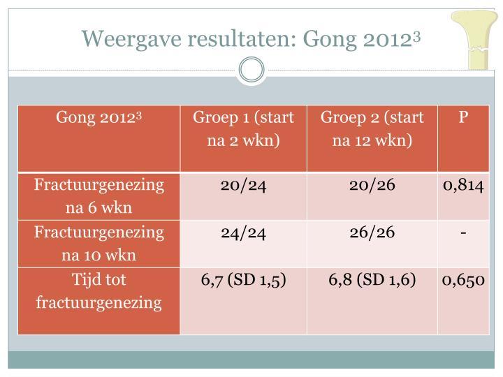 Weergave resultaten: Gong 2012