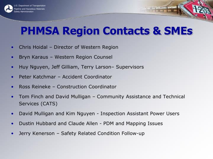 Phmsa region contacts smes