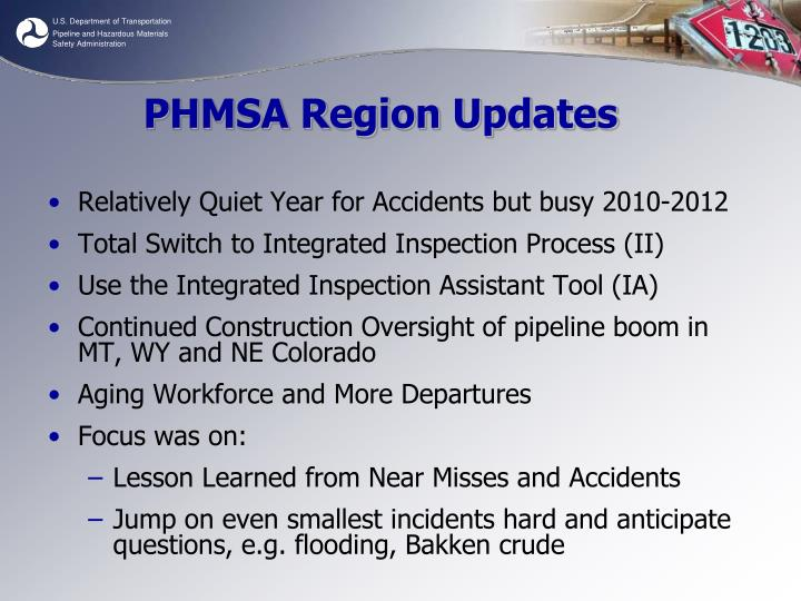 Phmsa region updates
