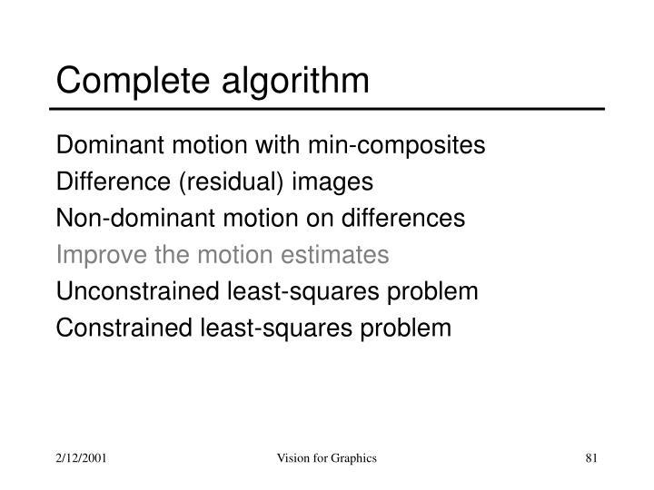 Complete algorithm
