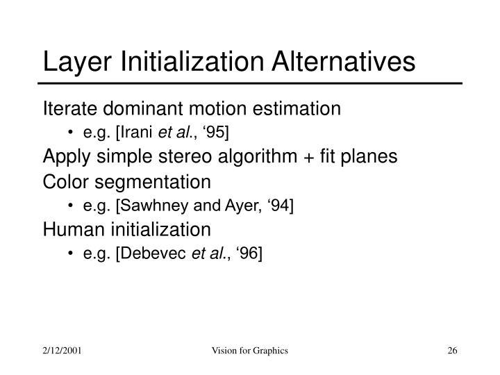 Layer Initialization Alternatives