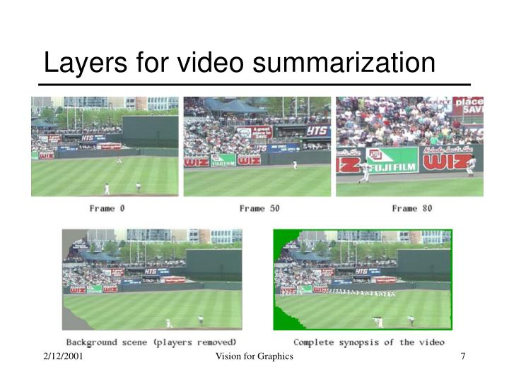 Layers for video summarization