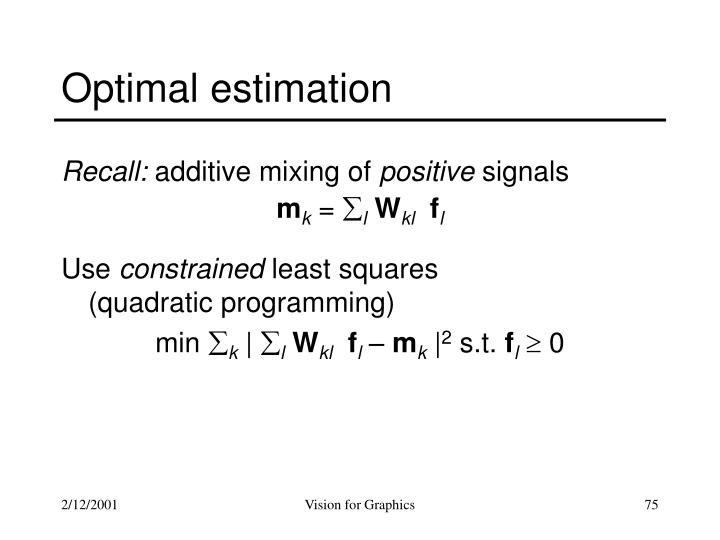 Optimal estimation